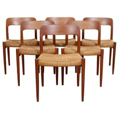 6 Niels Moller Model 75 Dining Chairs Teak, Set of Six, Denmark, 1970