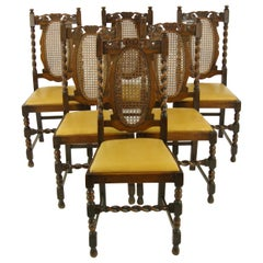 6 Oak Dining Chairs, Barley Twist Chairs, Scotland 1920, Antique Furniture B1375