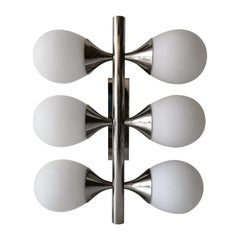 6 Opaline Glass Balls and Chrome Wall Lamp by Kaiser Leuchten, 1970s, Germany