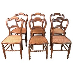 6 Original Biedermeier Chairs Caféhaus Seat Weave circa 1850-1860 Solid Mahogany