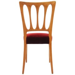 6 Paolo Buffa, 1950 Italian Dining Chairs in Turned Ash and Deep Red Velvet