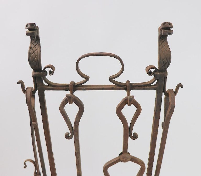 American 6-Piece Gothic Revival Fireplace Tool Set after Yellin For Sale
