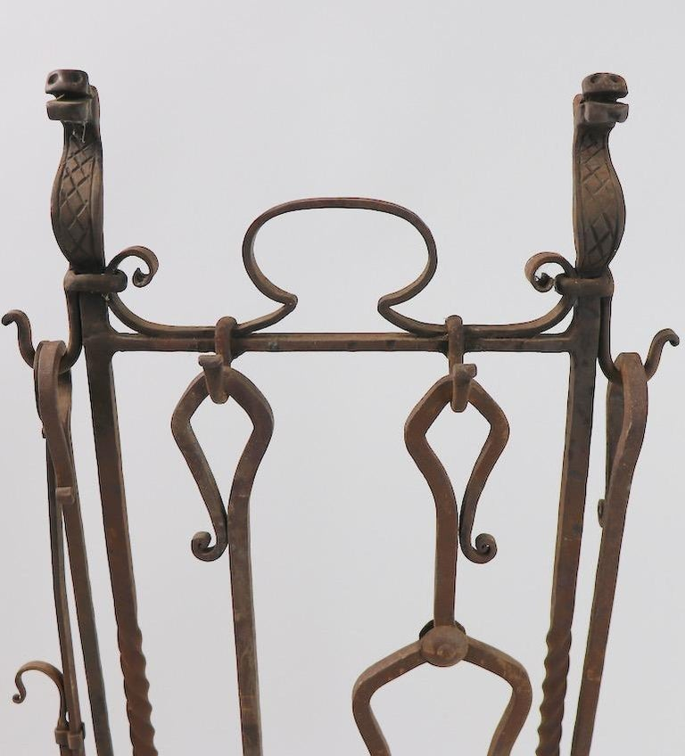 6-Piece Gothic Revival Fireplace Tool Set after Yellin In Good Condition For Sale In New York, NY