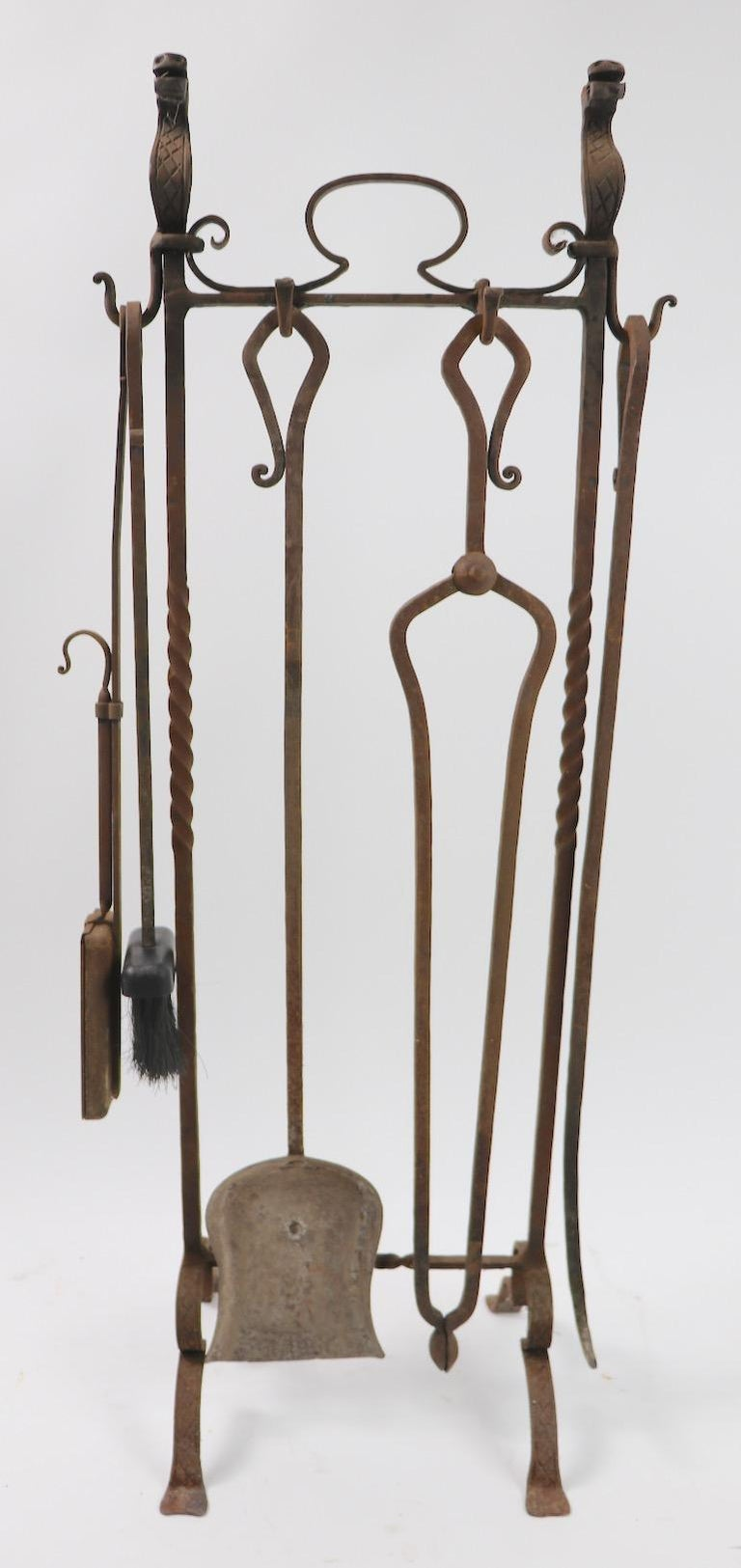 20th Century 6-Piece Gothic Revival Fireplace Tool Set after Yellin For Sale