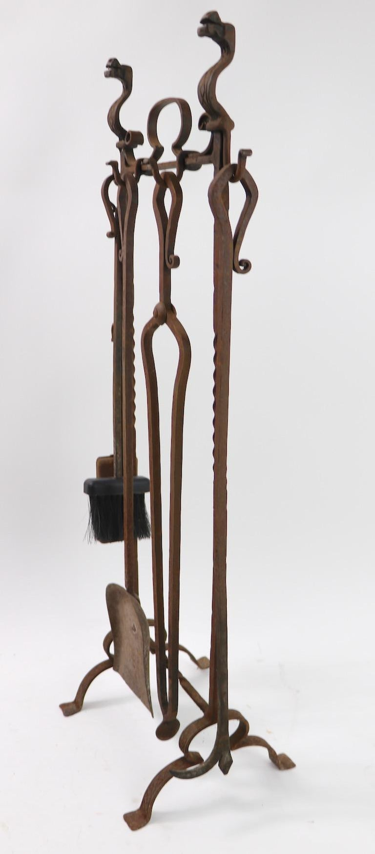 Wrought Iron 6-Piece Gothic Revival Fireplace Tool Set after Yellin For Sale