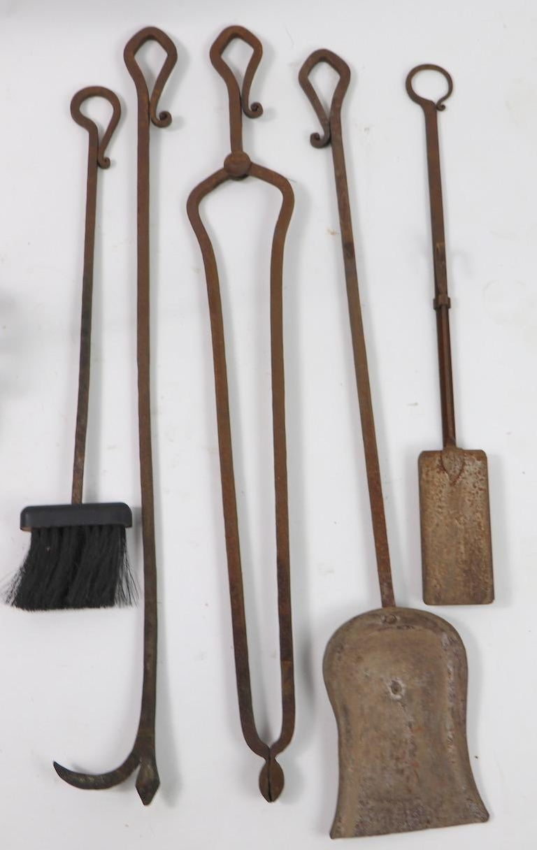 6-Piece Gothic Revival Fireplace Tool Set after Yellin For Sale 2