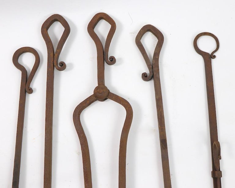 6-Piece Gothic Revival Fireplace Tool Set after Yellin For Sale 3