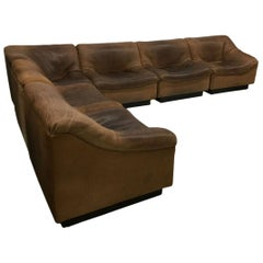 """6-Piece, De Sede """"DS 46"""" Swiss Neck Leather Corner Sofa, 1970s"""