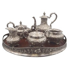6-Piece Jacobi & Jenkins Sterling Silver Tea / Coffee Set in Repousse Pattern