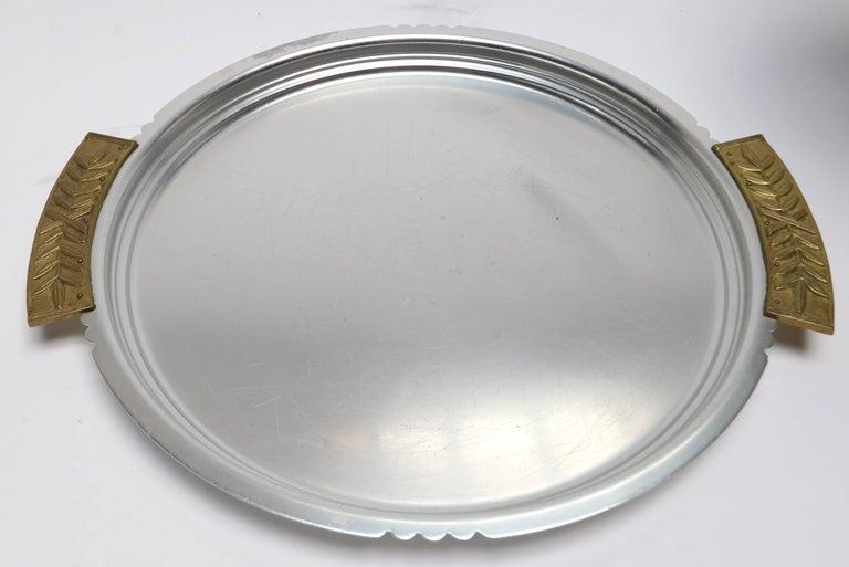 Art Deco Six-Piece Kensington Aluminium and Brass Table Accessories For Sale