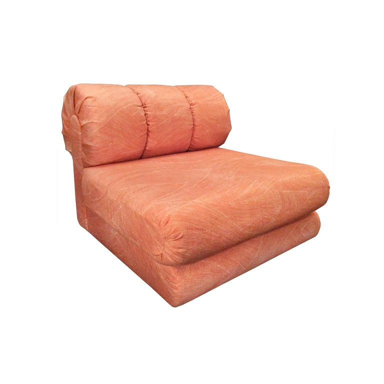 American 6 Piece Sectional Sofa Set In Original Coral Frond Pattern Fabric For Sale