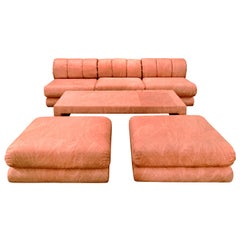 6 Piece Sectional Sofa Set In Original Coral Frond Pattern Fabric