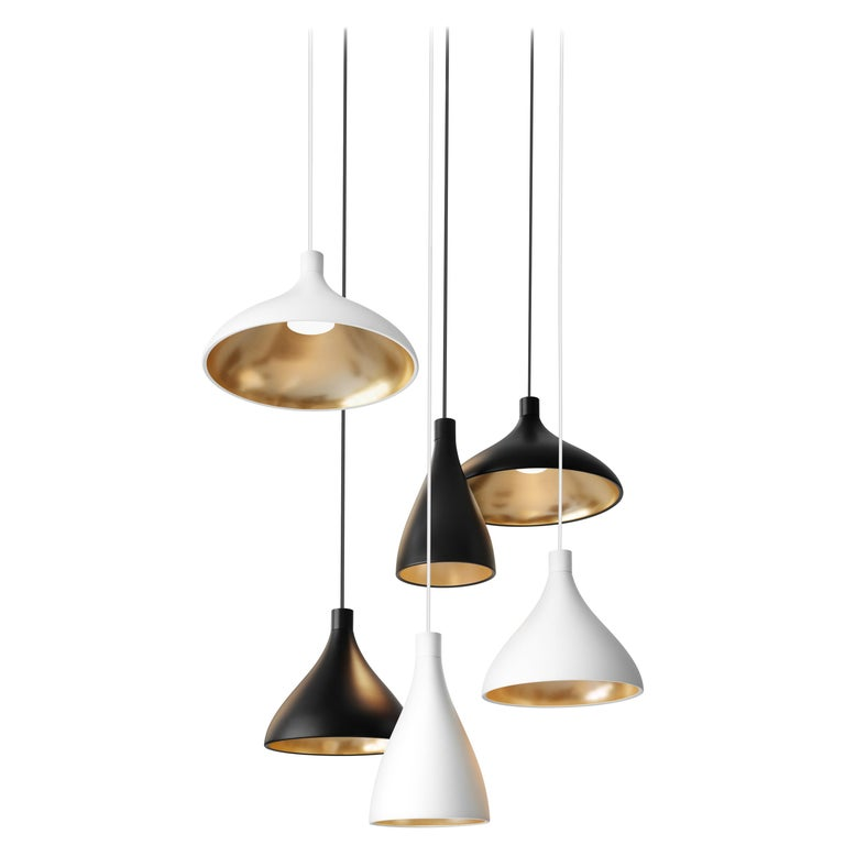 6-Piece Swell Chandelier in White and Brass with Canopy by Pablo Designs For Sale