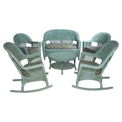 6 Piece Wicker Set, Sofa, 2 Chairs, 2 Rockers and Table