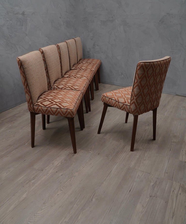 6 Pierluigi Colli Ashwood and Fabric Italian Chairs, 1950 In Good Condition For Sale In Rome, IT