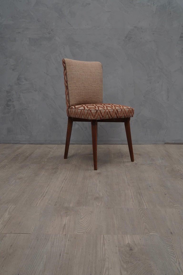 6 Pierluigi Colli Ashwood and Fabric Italian Chairs, 1950 For Sale 2