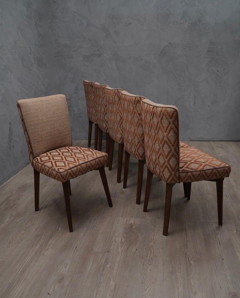 6 Pierluigi Colli Ashwood and Fabric Italian Chairs, 1950 For Sale 3