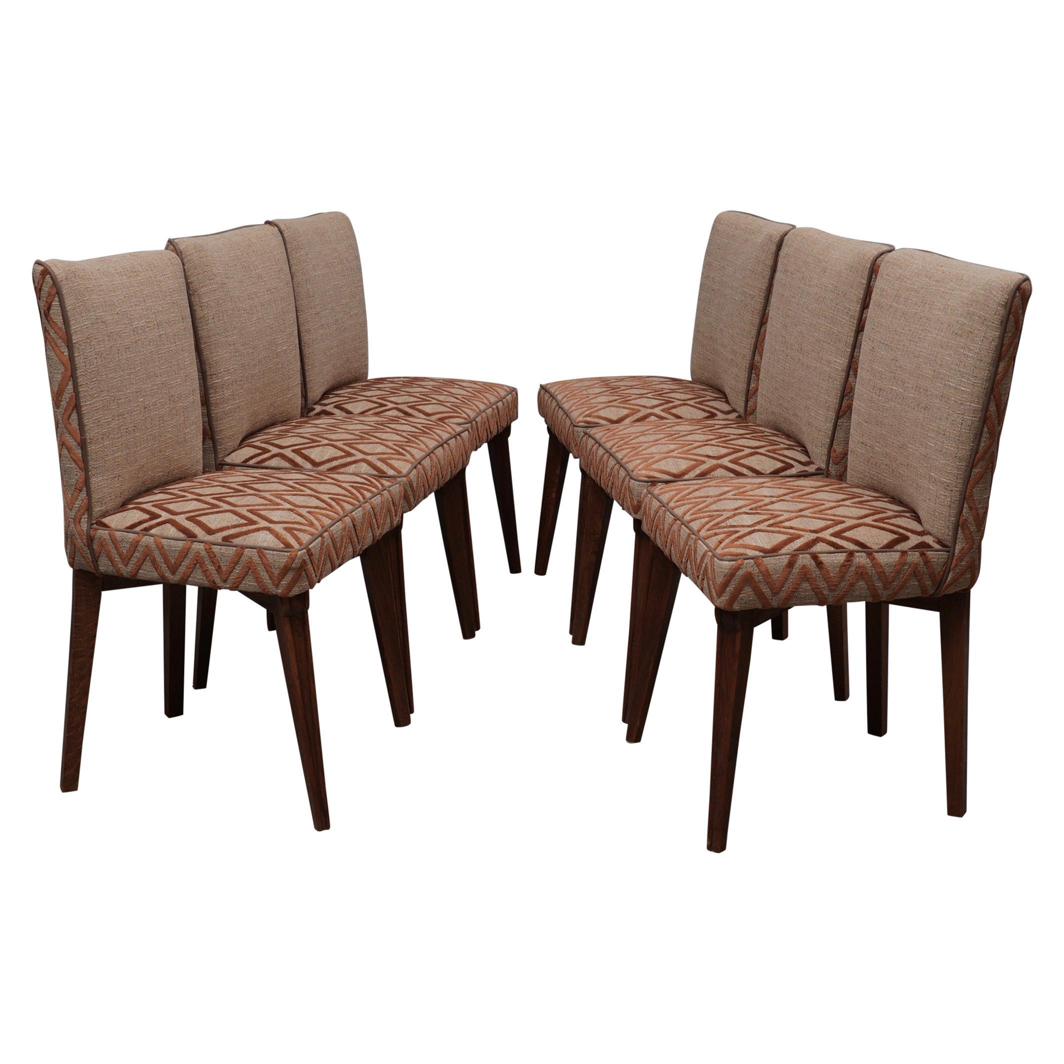 6 Pierluigi Colli Ash Wood and Fabric Italian Chairs, 1950