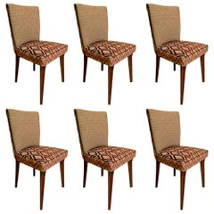 6 Pierluigi Colli Wood and Fabric Italian Chairs, 1950