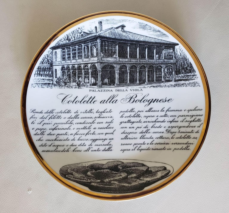 6 Piero Fornasetti Porcelain Plates with Recipes Specialita Bolognese For Sale 4