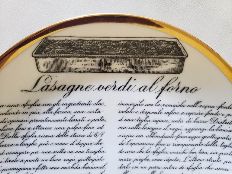 Italian 6 Piero Fornasetti Porcelain Plates with Recipes Specialita Bolognese For Sale