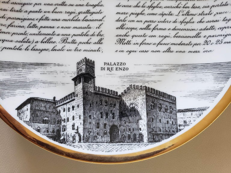 6 Piero Fornasetti Porcelain Plates with Recipes Specialita Bolognese In Good Condition For Sale In Downingtown, PA