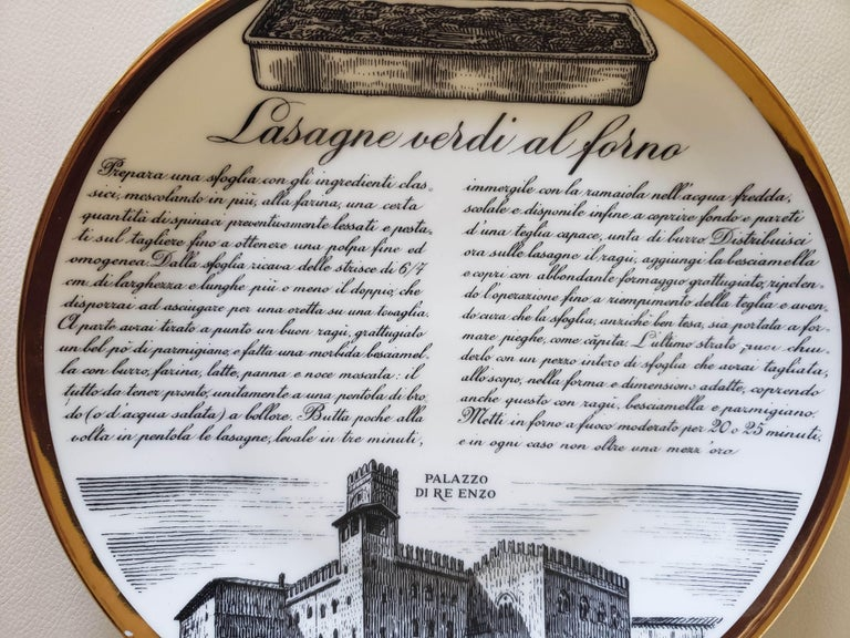 Mid-20th Century 6 Piero Fornasetti Porcelain Plates with Recipes Specialita Bolognese For Sale