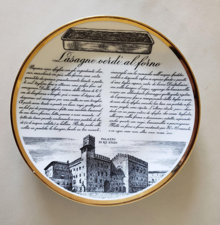 6 Piero Fornasetti Porcelain Plates with Recipes Specialita Bolognese For Sale 1