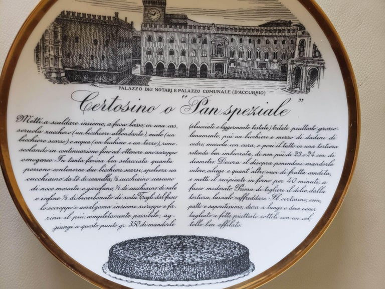 6 Piero Fornasetti Porcelain Plates with Recipes Specialita Bolognese For Sale 2