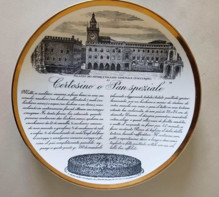 6 Piero Fornasetti Porcelain Plates with Recipes Specialita Bolognese For Sale 3
