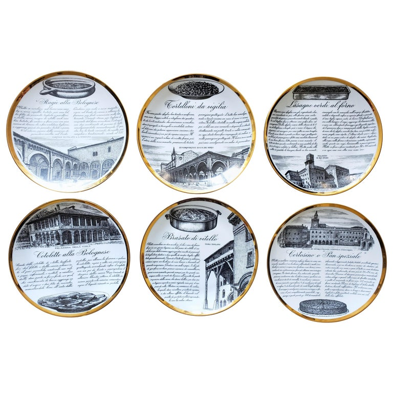 6 Piero Fornasetti Porcelain Plates with Recipes Specialita Bolognese For Sale