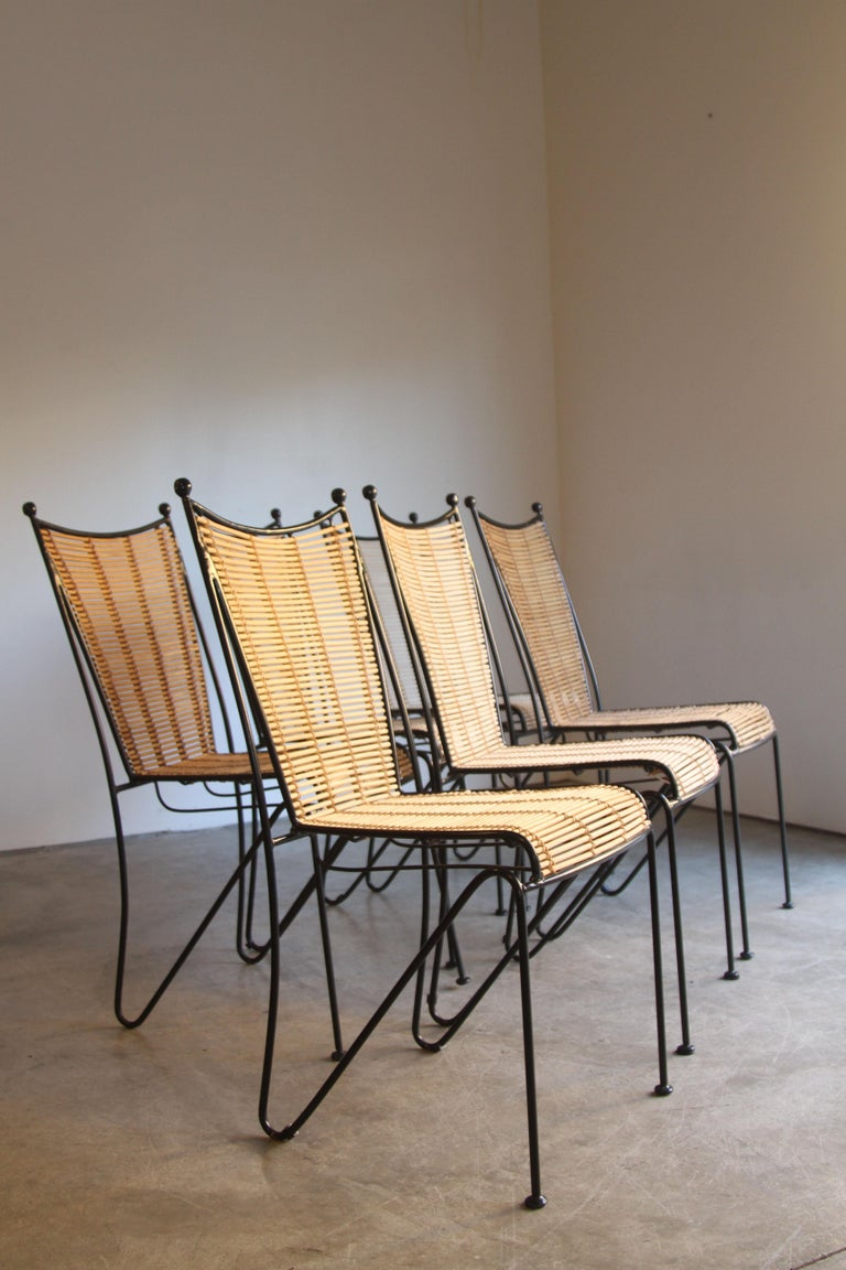 Mid-Century Modern 6 Pipsan Saarinen Swanson Iron and Cane Dining Chairs Attributed to Ficks Reed