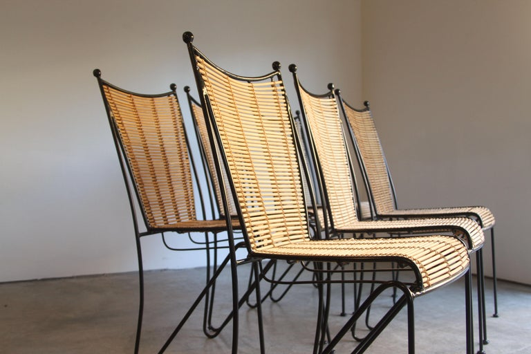 6 Pipsan Saarinen Swanson Iron and Cane Dining Chairs Attributed to Ficks Reed In Good Condition In St. Louis, MO
