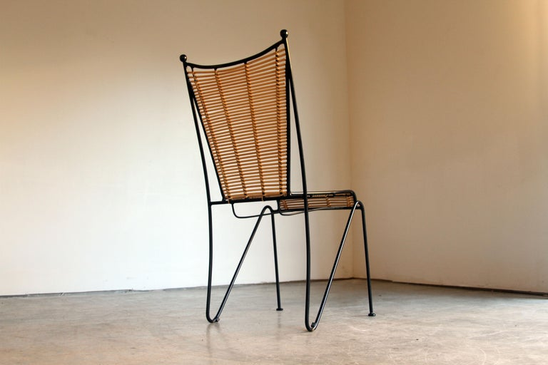 Mid-20th Century 6 Pipsan Saarinen Swanson Iron and Cane Dining Chairs Attributed to Ficks Reed