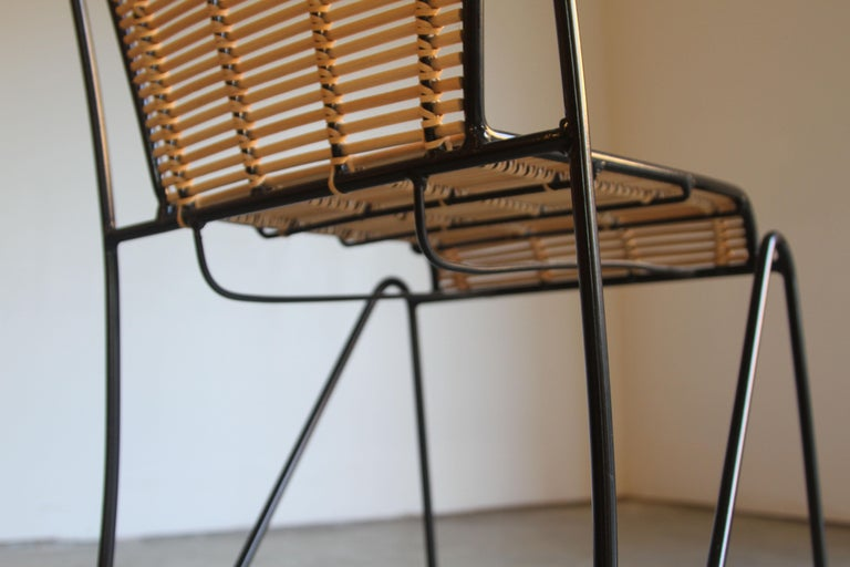 6 Pipsan Saarinen Swanson Iron and Cane Dining Chairs Attributed to Ficks Reed 2
