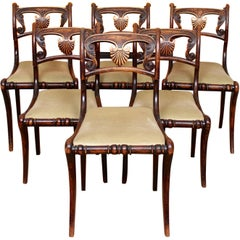 6 Regency Dining Chairs Harlequin Painted Rosewood Carved