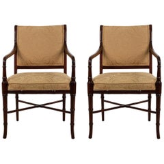 6 Regency Style Mahogany Armchairs with Yellow Damask Upholstery