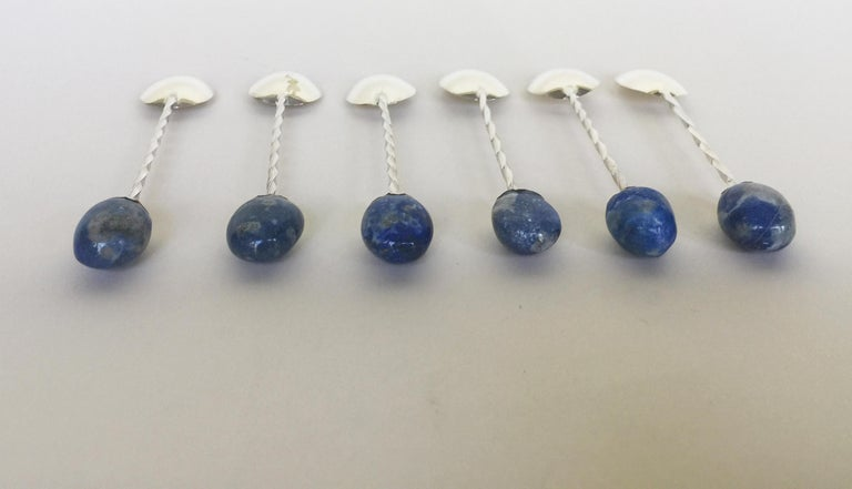 6 Rhodium Plated Sterling Silver Tea Spoon Set with Lapis Lazuli Stones,Marina J In Excellent Condition For Sale In Beverly Hills, CA
