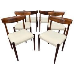 6 Rosewood Danish Knud Færch for Slagelse Møbelfabrik Dining Chairs, Model 343