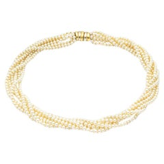 6 Row Cultured Pearls Necklace with 18K Yellow and White Gold Clasp