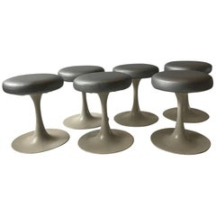 6 Saarinen Style 1960s Tulip Base Metal Stools by Brevete Cre Rossi, France