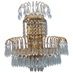6 Sconces Gold-Plated Swarovski Crystall Italian Design 1970s Cascade of Crystal