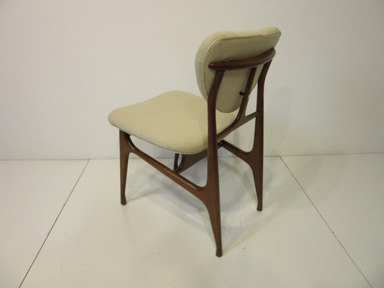 6 Sculptural Wood and Upholstered Dining Chairs in the style of Finn Juhl For Sale 7