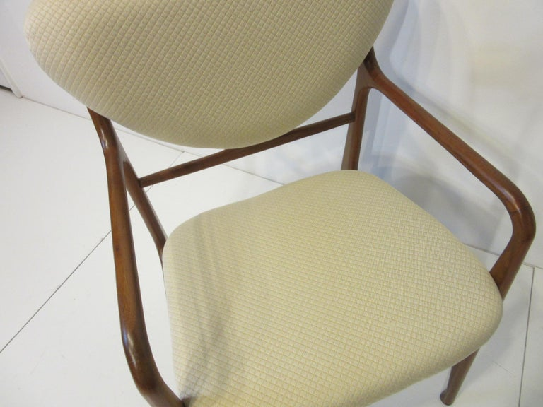 6 Sculptural Wood and Upholstered Dining Chairs in the style of Finn Juhl For Sale 8