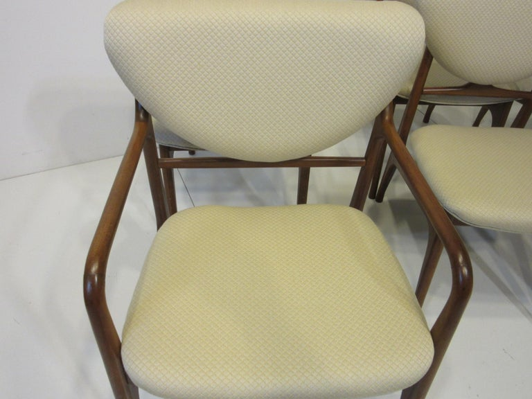 6 Sculptural Wood and Upholstered Dining Chairs in the style of Finn Juhl For Sale 9