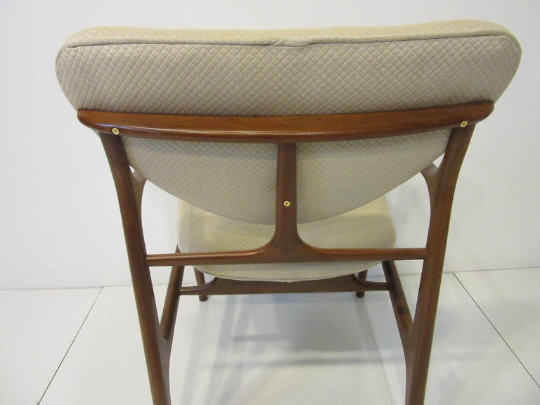 6 Sculptural Wood and Upholstered Dining Chairs in the style of Finn Juhl For Sale 10
