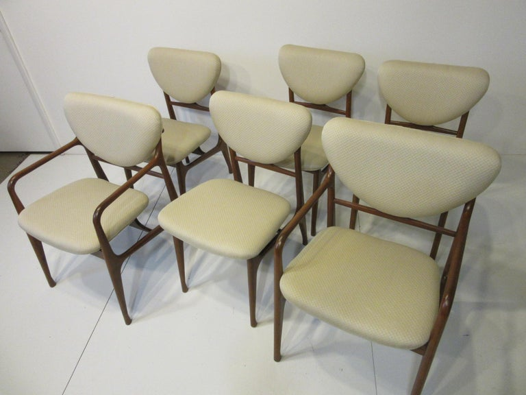 6 Sculptural Wood and Upholstered Dining Chairs in the style of Finn Juhl For Sale 11