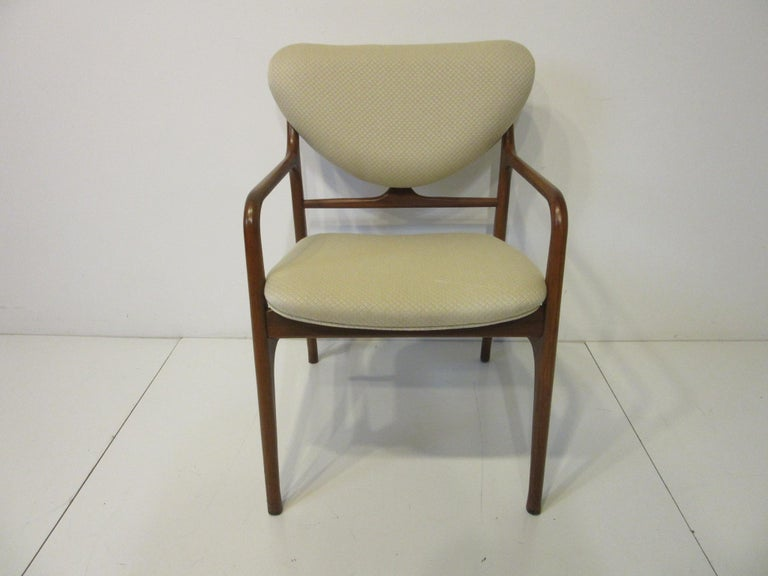 6 Sculptural Wood and Upholstered Dining Chairs in the style of Finn Juhl In Good Condition For Sale In Cincinnati, OH