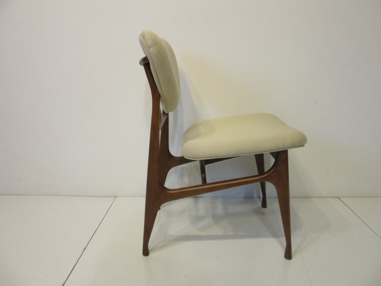 6 Sculptural Wood and Upholstered Dining Chairs in the style of Finn Juhl For Sale 5
