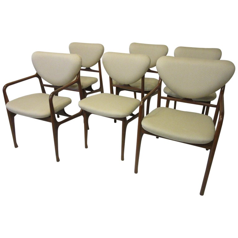 6 Sculptural Wood and Upholstered Dining Chairs in the style of Finn Juhl For Sale
